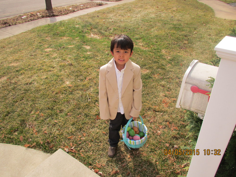 Instagram Message: The suit we bought this year will fit him much better. Beau's thrilled to find eggs this Sunday. Check the blog and find out what's inside them.