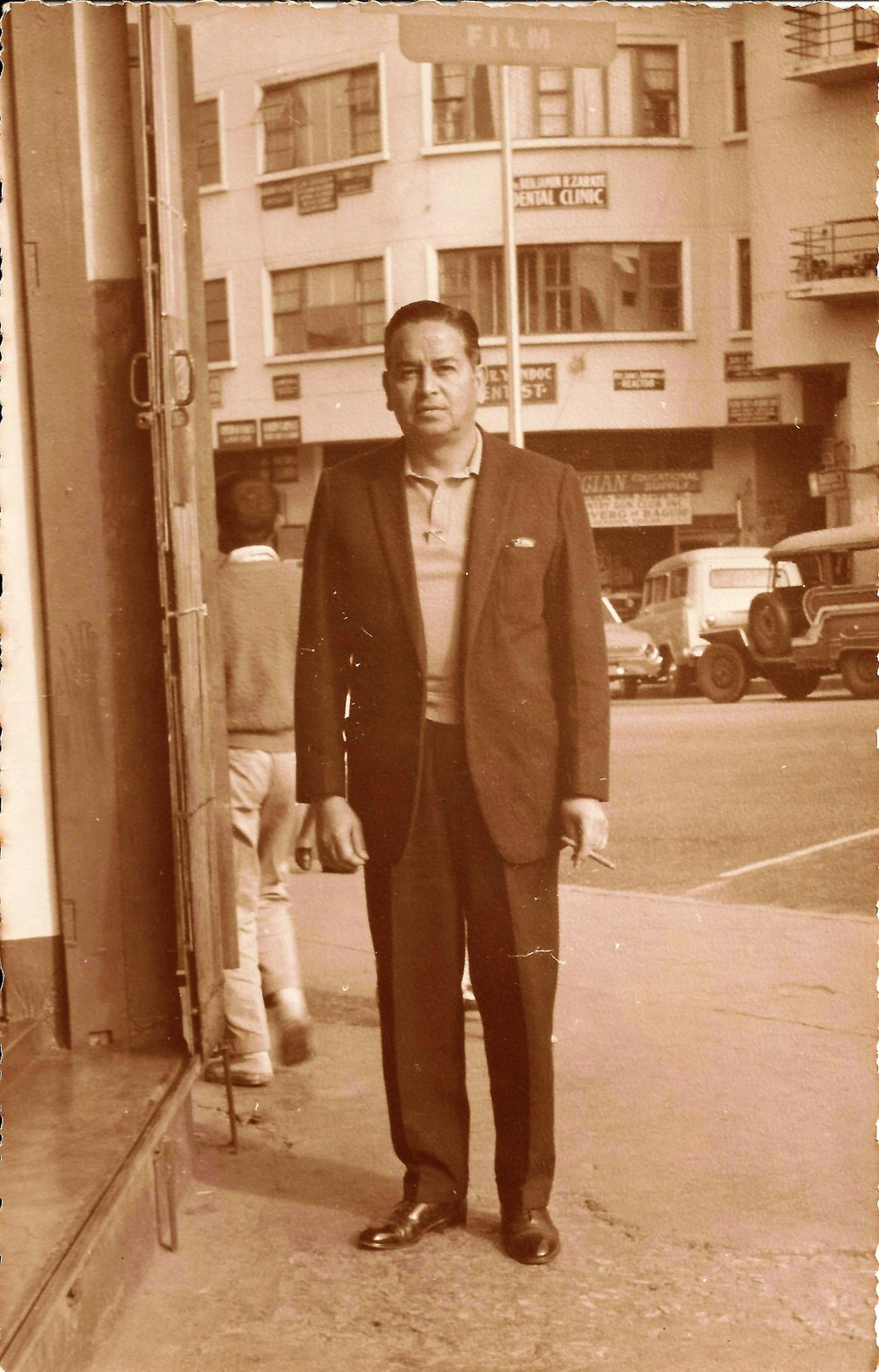 Grandpa with his shiny shoes, cigar, probably cashmere sweater and what's that in his top pocket? A hanky. Stylish. He insisted in very good quality over quantity always. Not shown:his gold pocket watch.