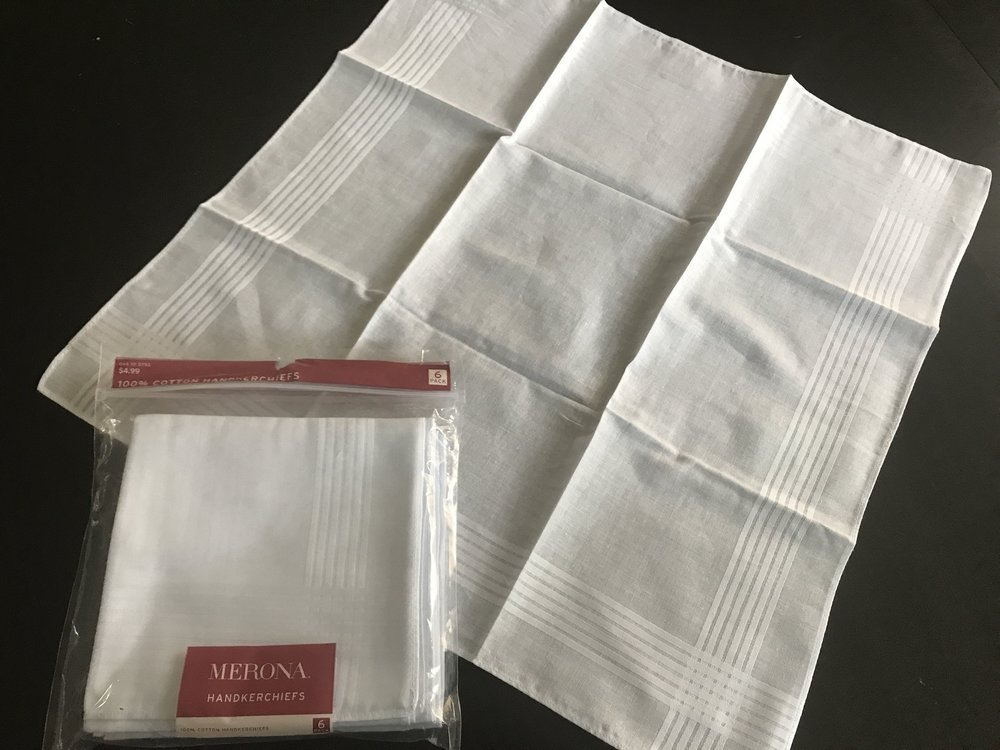 I'm considering getting  Thoughtful Pinch  logos on these - 6 hankies for $4.99. Great to give away!