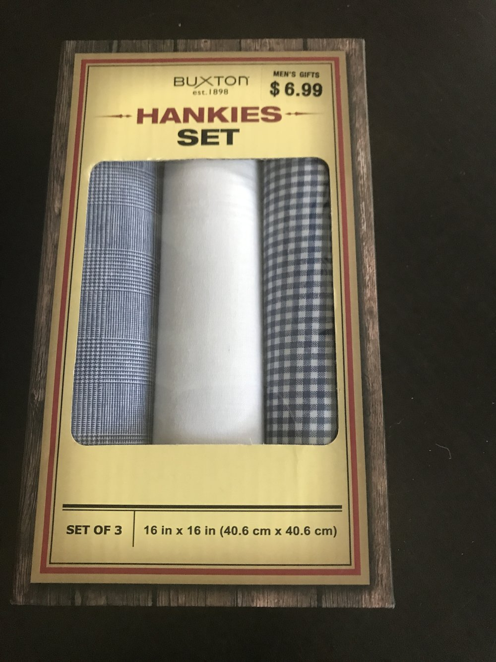 These are stylish handkerchiefs. Target. Three for $6.99.