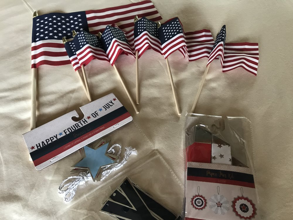 Decor - flags, banner and wheels from Target.