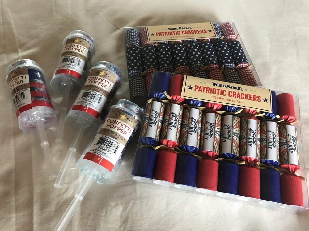 Confetti Poppers are from Target and Crackers are from Cost Plus World Market.