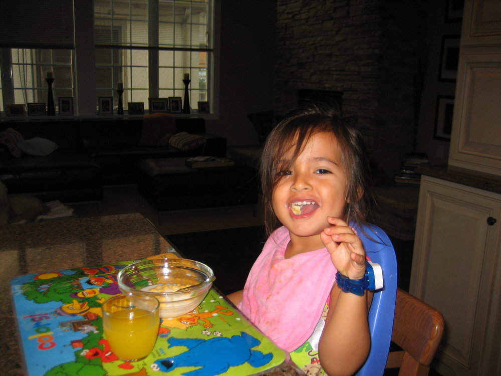 Instagram Message: These were the good ole days when she was still able to eat fun cereal. Tmrw 3/7 is National Cereal Day. Find out on thoughtfulpinch.com why Bella skips cereal these days.