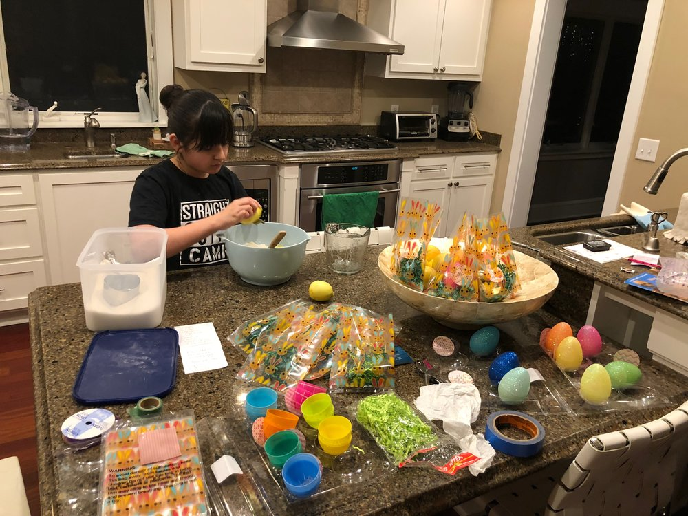 Bella used the recipe of 1 cup of organic coconut oil, 2 cups of organic sugar and 40-50 drops of organic essential lemon oil. We ended up tweaking the recipe by adding an additional 1 - 1.5 cups of sugar and the zest from an organic lemon.