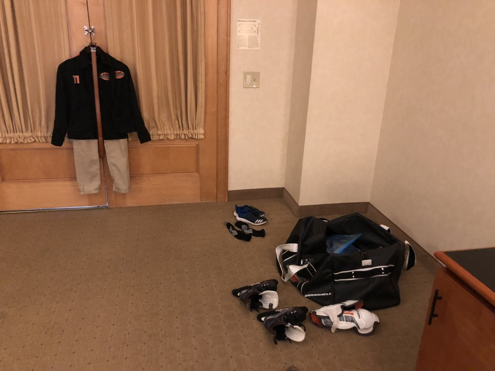Then I would hang up the outfit required to wear to/from games. And before we left the room, I would make sure every item was in that bag before heading out. All my son had to do was pack it and carry it.