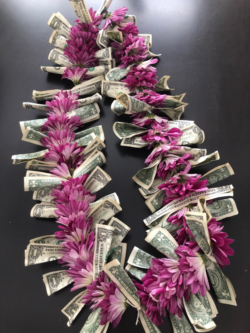 A fortieth birthday  thoughtful pinch . Making a lei is something I've never done before but now I feel empowered because I tried something new!