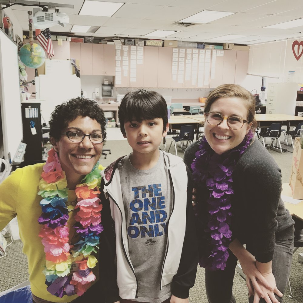 Last year, I didn't think about taking a picture of the final product. The teachers took off their gift cards and notes but wore the leis all day on the last day of school.