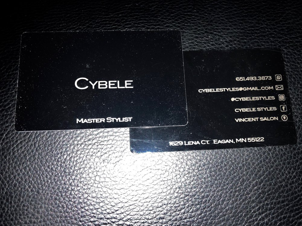 If you're a special gal, you deserve special business cards.  Cybele had her info engraved into black-coated sheet metal. Because you know, everyone needs metal in their lives. In case you want to know if I endorse her service -  click here  - I wrote all about Cybele in a post.  She  actually wants to have some of my business cards so she can hand some out to her clients. Thank you!!