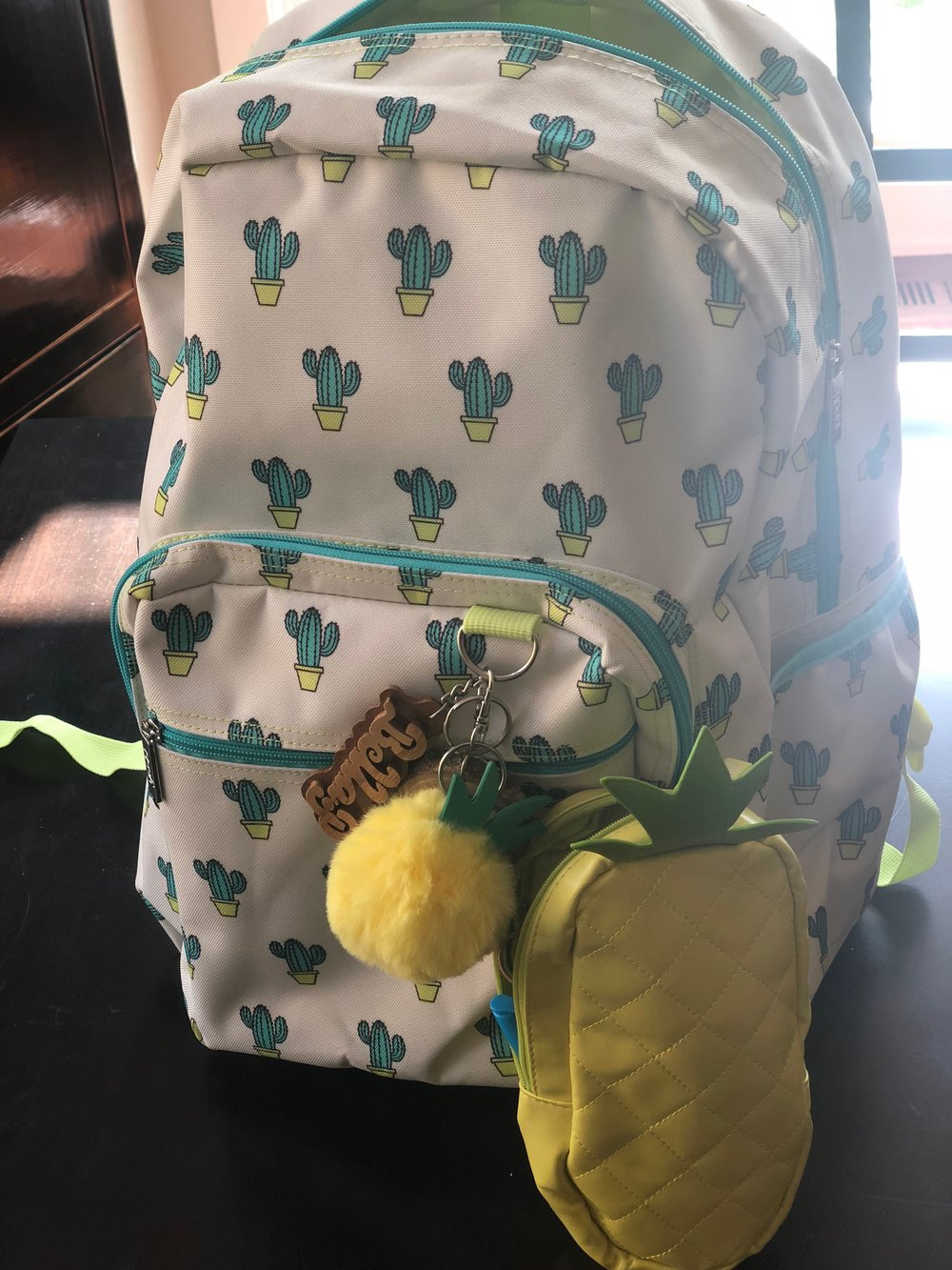 My kids do not have to bring school supplies but I always stock up for my own desk at home because the prices are too good to pass up. This year she chose a cactus theme backpack with a pineapple pencil case that holds her ear buds and some fun highlighters.