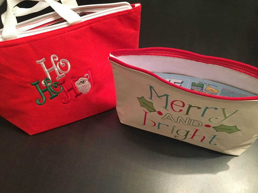 Ho Ho Ho - The insulated lunch bag and the     31   Merry and Bright zip pouch. I use both every holiday season. The Merry & Bright bag carries all my coupons and Xmas lists. And because Nutcracker rehearsals are long, my daughter needs her snacks so she uses the lunch bag a lot. Click  here  for the blog I wrote about these items.