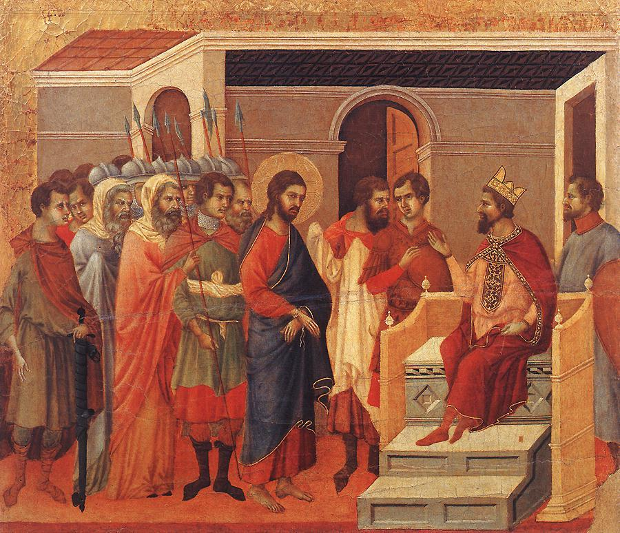 Duccio_di_Buoninsegna-Maesta_back_central_panel_Jesus_Before_King_Herod