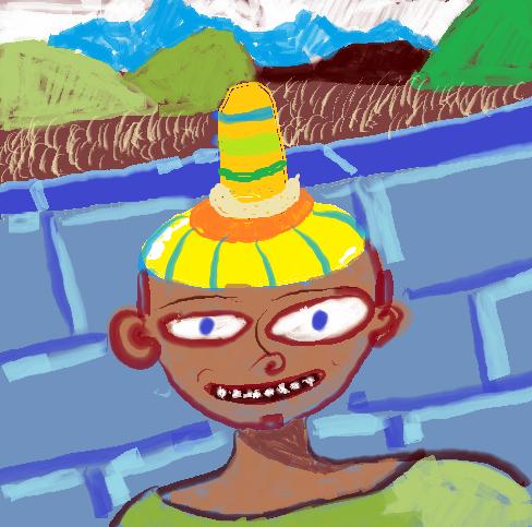 Happy Boy wearing a Nipple Hat.png