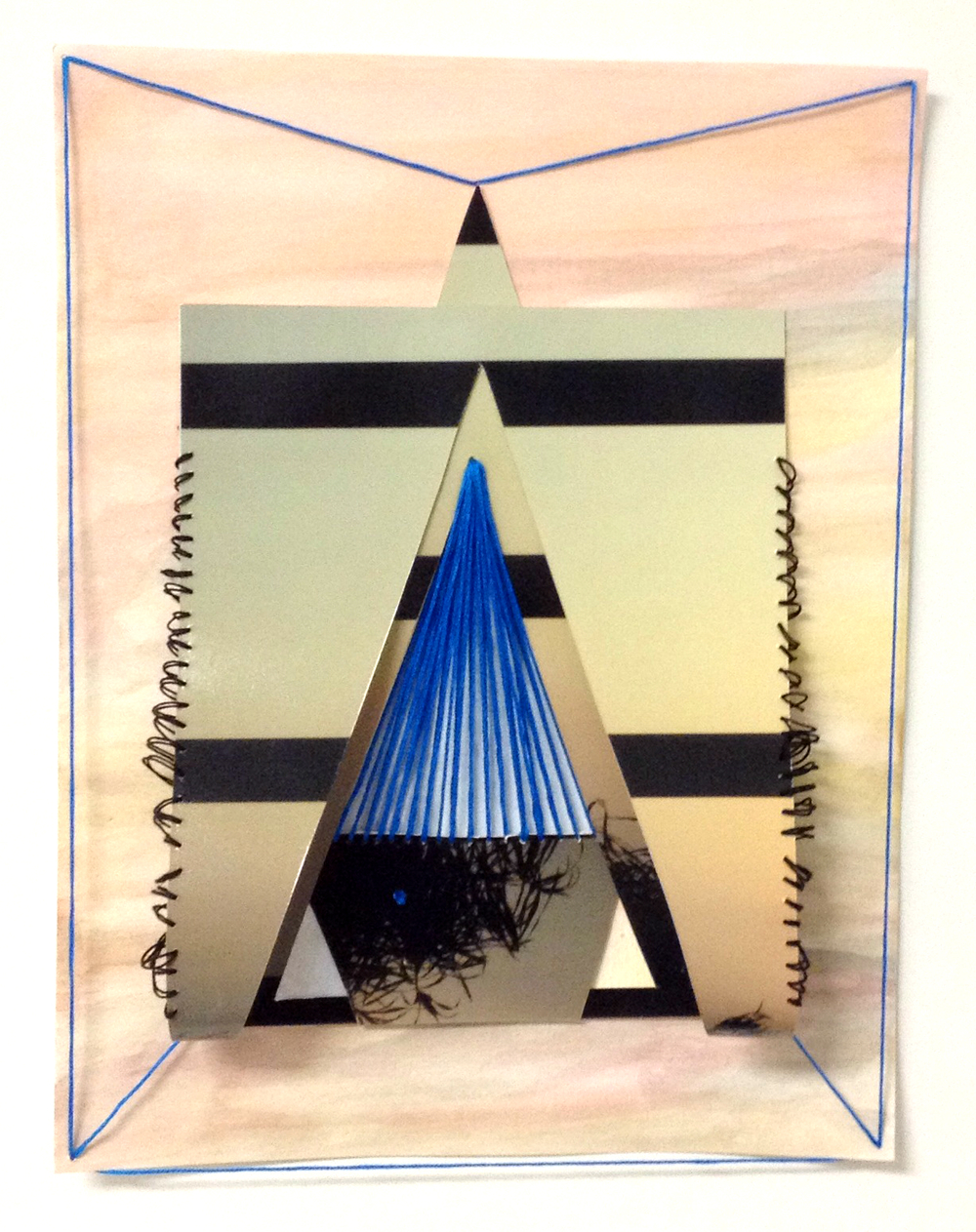 paper 18 (under which reality?), 2014  gouache, photograph, thread on paper  11 x 8.5 inches