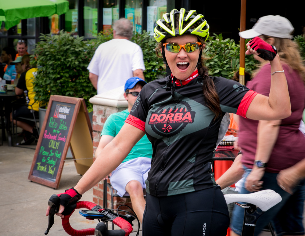 Tulsa Tough participant showing her enthusiasm after a race.