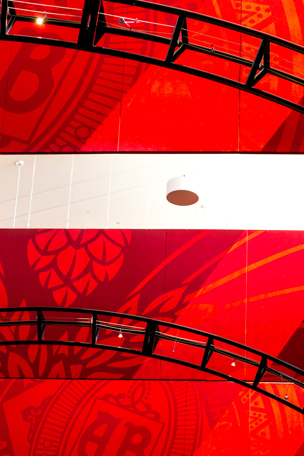 Banners and structural elements at the Visitor Center ceiling provide shape and color for this abstract.
