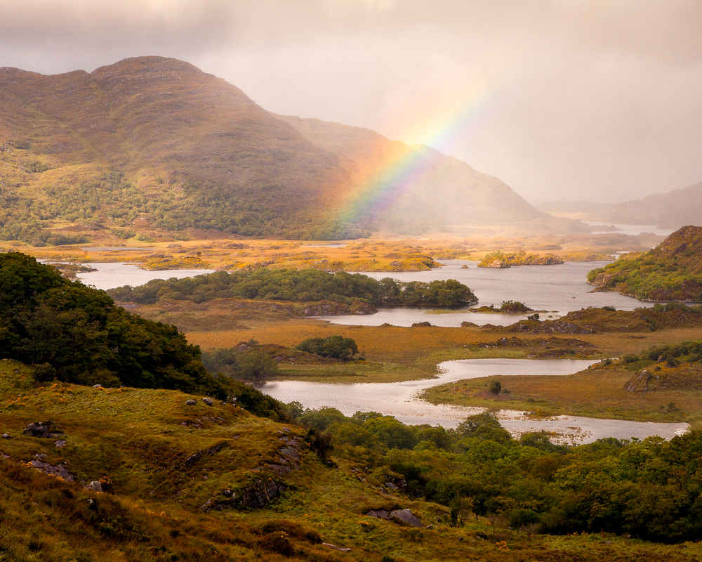 Taken on the same trip to Ireland. Sometimes we get lucky. Rainbow over the lakes of Killarney as seen from Ladies View.