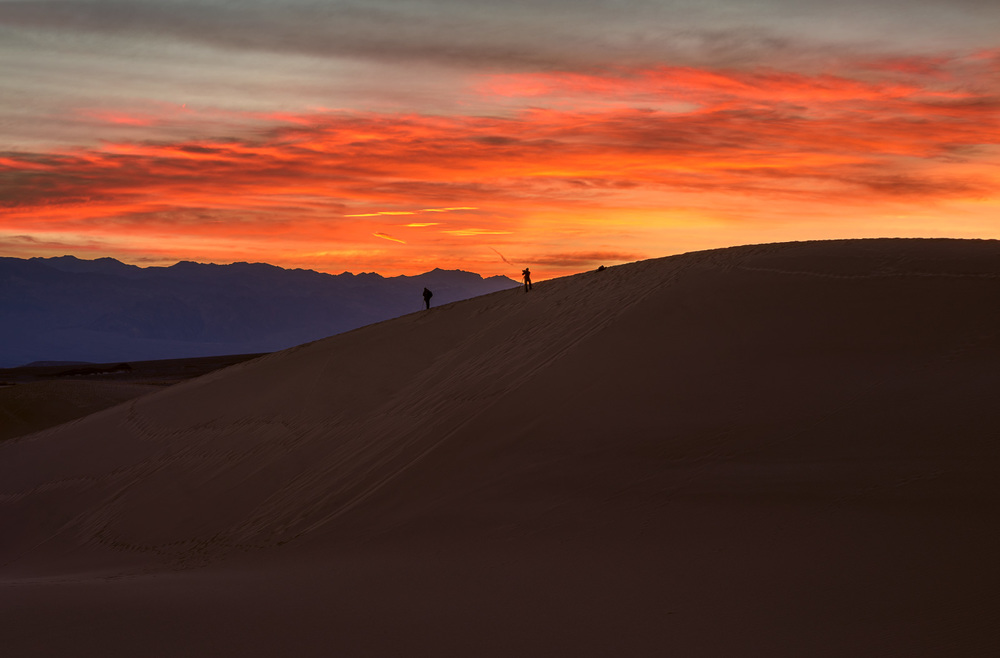 Mesquite Flat Sand Dunes - You can see the amount of footprints on the highest dune and of course there will probably be photographers there at nearly all hours. I wanted the two you see above in the frame and had to race to get to the back of them and high enough to get them and the pre-sunrise glow all in one shot.