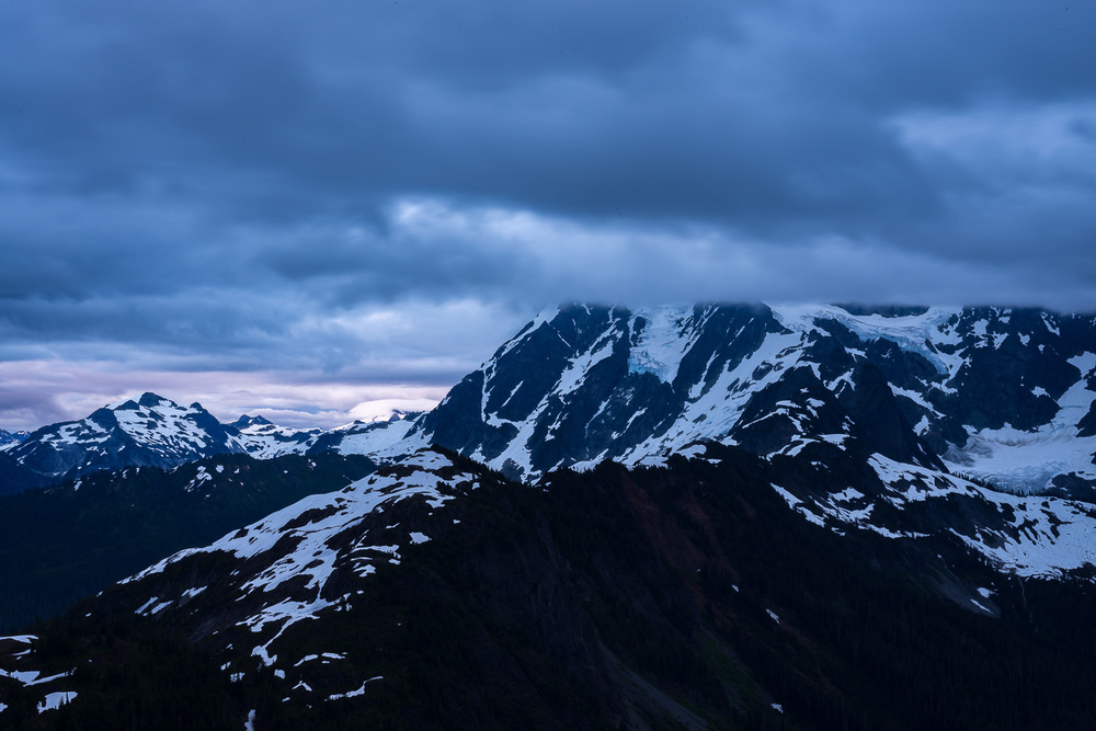 View from the top of Table Mountain, in the Mount Baker Wilderness. You're looking at Mount Shuksan under cloud cover.