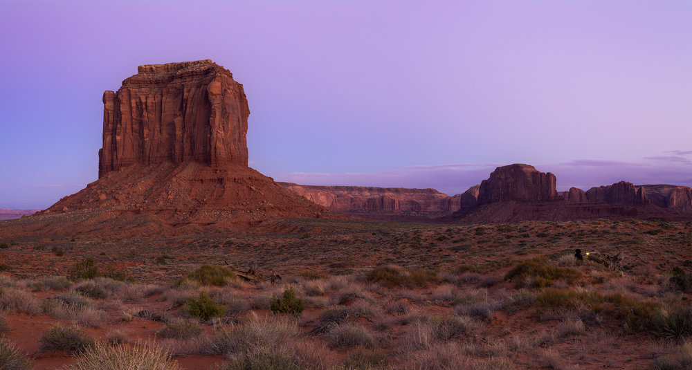Monument Valley at blue hour.