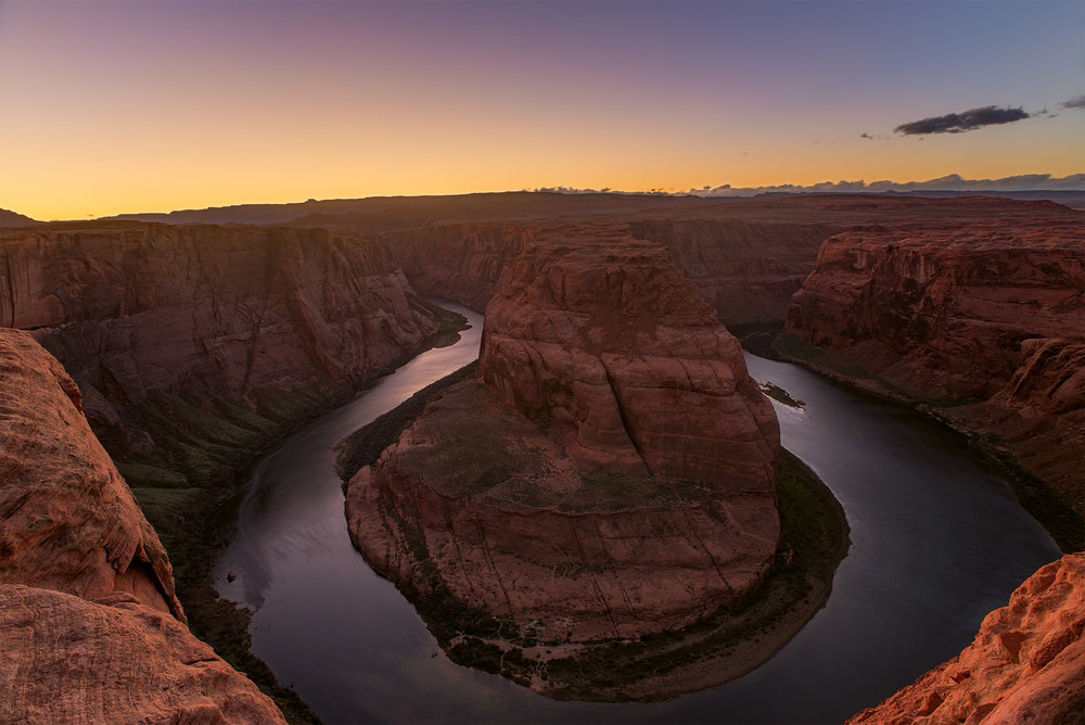 Horseshoe Bend after sunset.