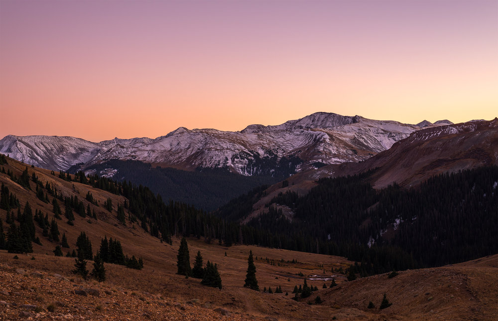 Looking down the Wetterhorn Basin at sunset.