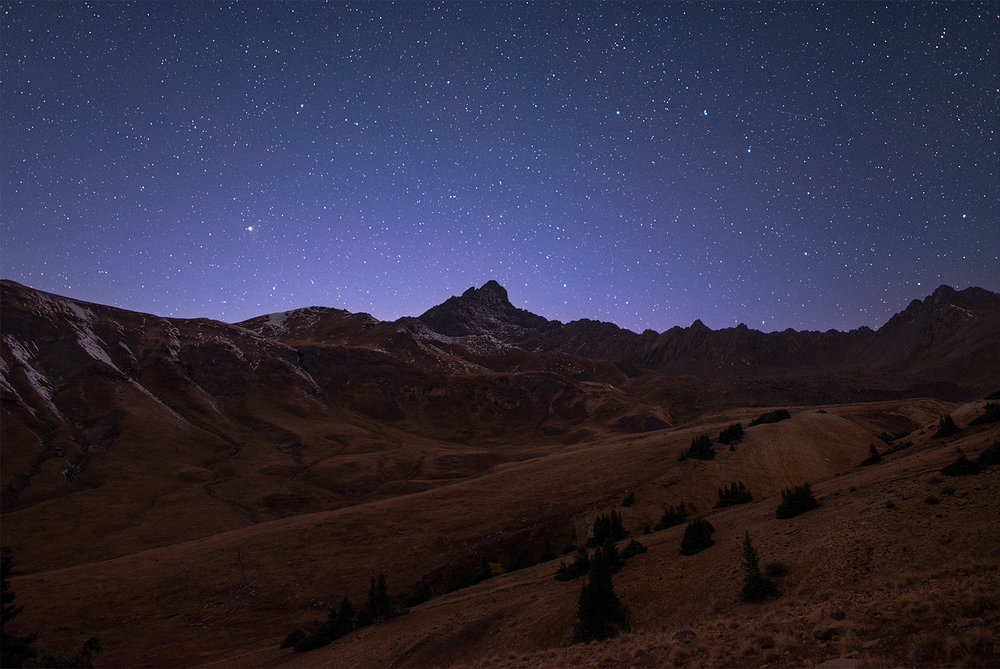 Wetterhorn Peak at the dead of night. Part of the Uncompahgre range.