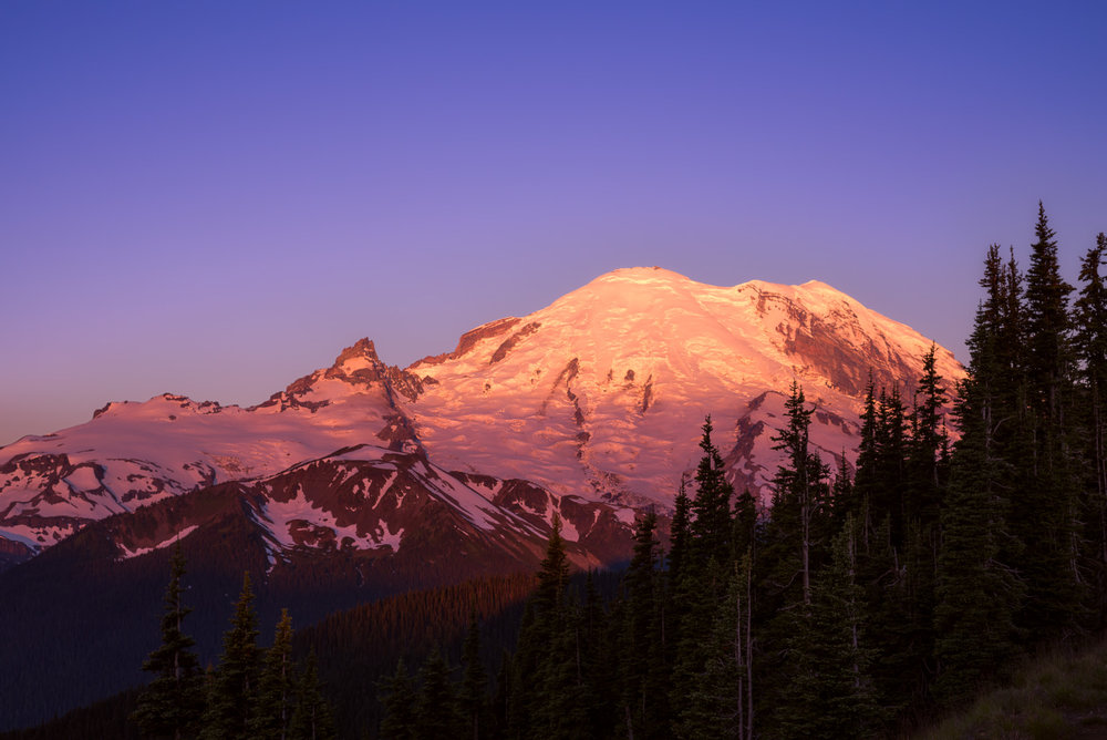 Mt Rainier at sunrise.