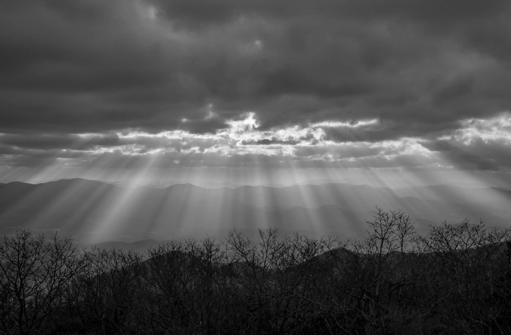 Brasstown Bald - God-rays just before sunset at the highest point in the State of Georgia at 4,784 feet.