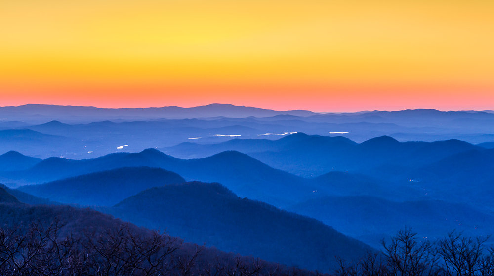 Brasstown Bald at sunset.