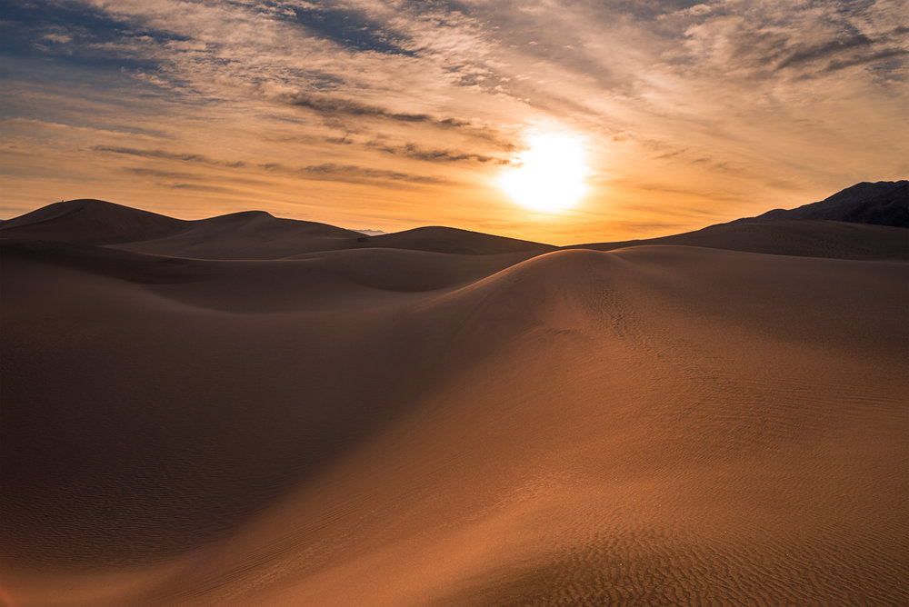 Mesquite Flat Sand Dunes, Death Valley, California. Taken a bit after sunrise, towards the other side of the dune field, away from all the footprints.