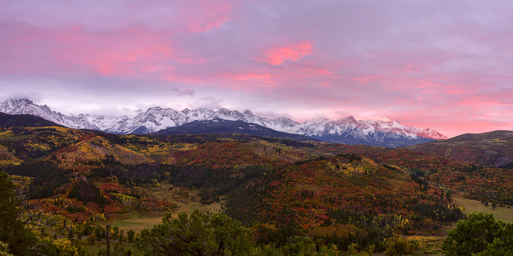 Sunset overlooking the Sneffels Range, at the Dallas Divide in the San Juan Mountains.
