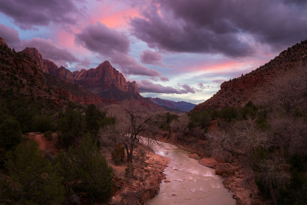 The Watchman and the Virgin River from the Canyon Junction Bridge.
