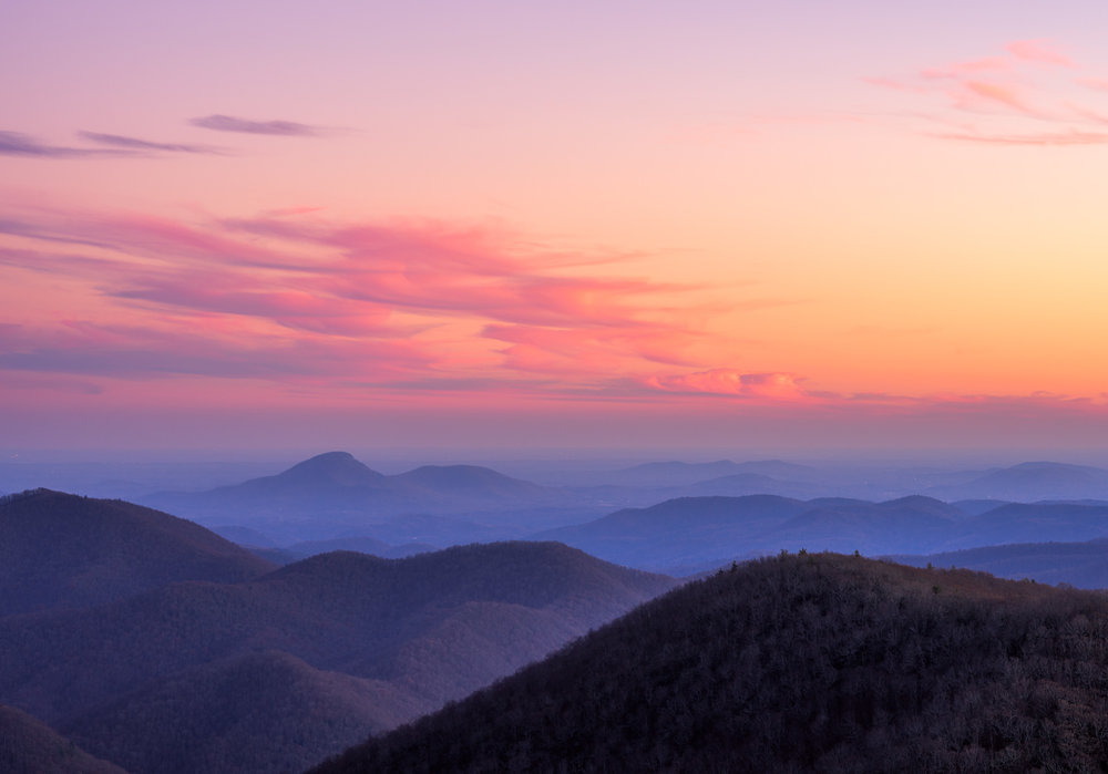 Pink sunset at Brasstown Bald.