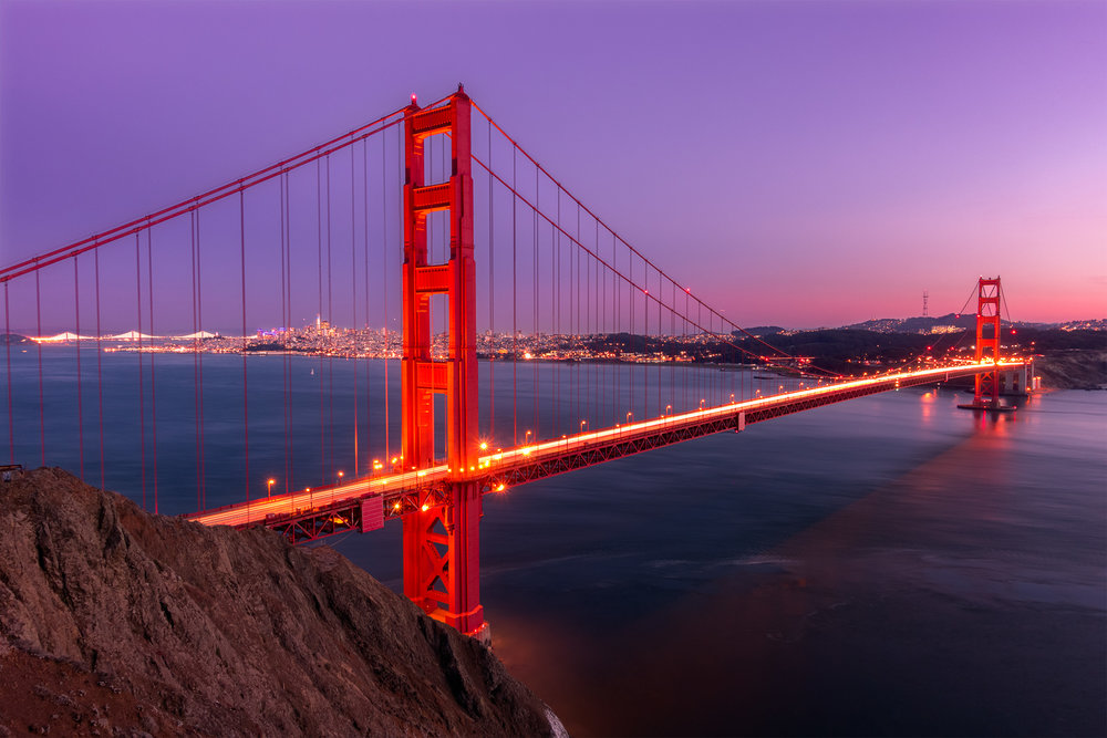 Blue hour and the Golden Gate Bridge, at Battery Point.
