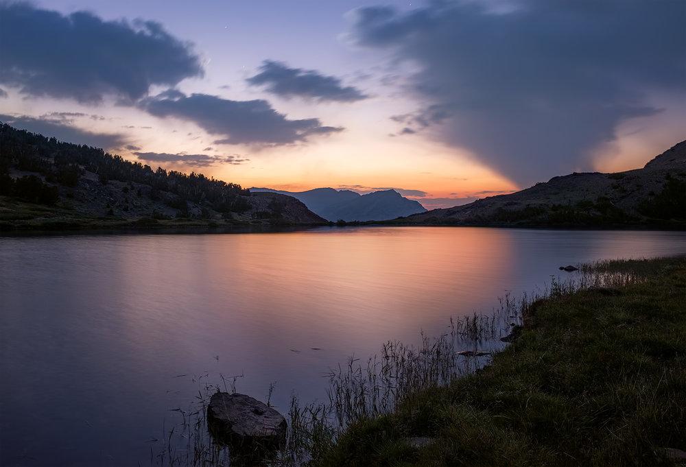 Gardisky Lake at the base of Tioga Peak, before sunrise.