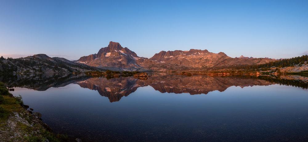 Sunrise reflections at Thousand Island Lake.