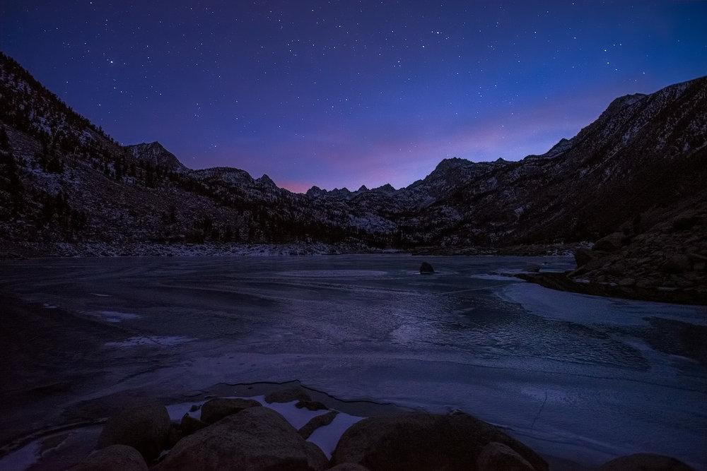 Frozen Lake Sabrina, overlooking the Eastern Sierra.