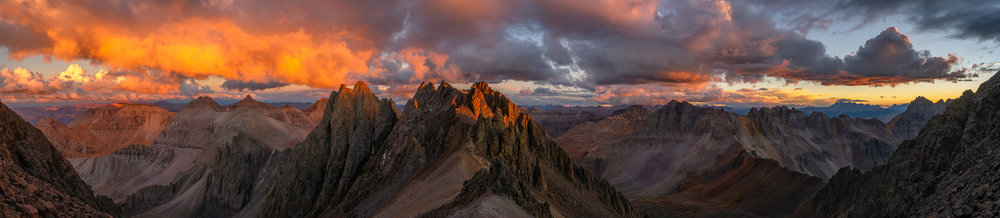 Sunset just below the peak of Mt Sneffels, in the San Juan Mountains, Colorado.