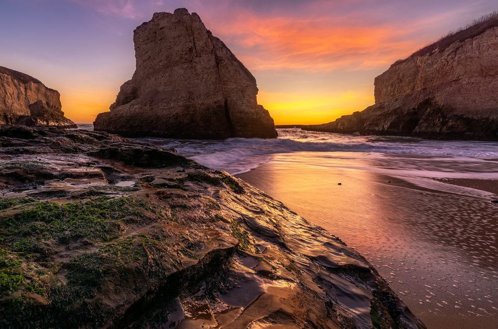 Sunset at Shark Fin Cove, near Santa Cruz.