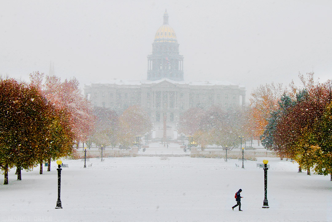 Colorado Capitol in Denver, Colorado, Wed., Nov. 12, 2014, as seen thru a snow storm across Civic Center park. (copyrighted photo by Mark T. Osler. ALL RIGHTS RESERVED.)