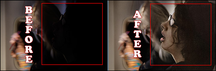 Before & after photo showing Photoshop enhancement of photo of a girl sleeping on plane from Denver to New York. December 2014. (photo © Mark T. Osler. ALL RIGHTS RESERVED.)
