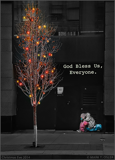 Homeless man on the streets of downtown Denver, Christmas Eve, Dec. 24, 2014. ©Mark T. Osler. ALL RIGHTS RESERVED.