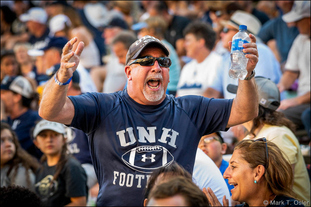"Following a 71-yard touchdown strike from UNH quarterback Christian Lupoli to Neil O'Connor late in the third quarter, Bill Gatchell (uncle of injured UNH quarterback Trevor McKnight) rallies the UNH fan base at CU's Folsom Field with a chant of ""U-N-H! U-N-H!"" UNH closed to 38-14 with a 2-play, 82-yard scoring drive."