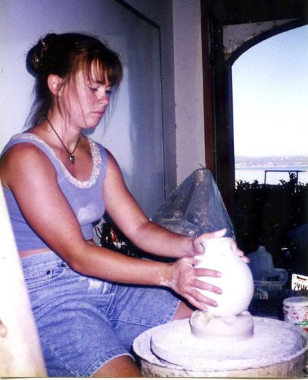 My sister, Whitney,in her garage studio in Santa Cruz circa 1995