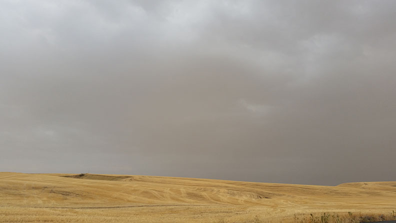 The Palouse against the backdrop of a smoky sky...yes, that's smoke and not just a cloudy day.