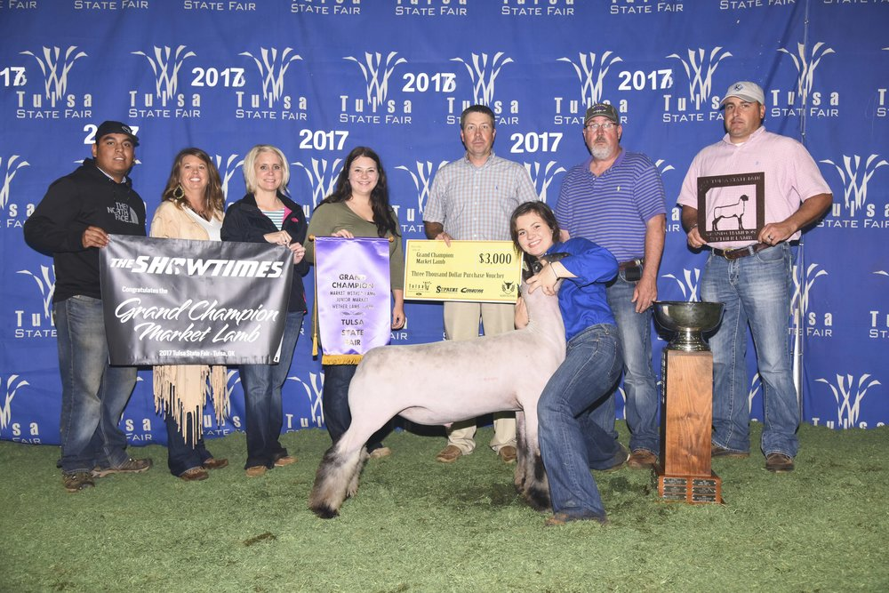 Grand Champion - 2017 Tulsa State Fair Sire:  Ali (Barely Legal son)Showman:  Brantlee CoxBreeder:  Beatty Club Lambs