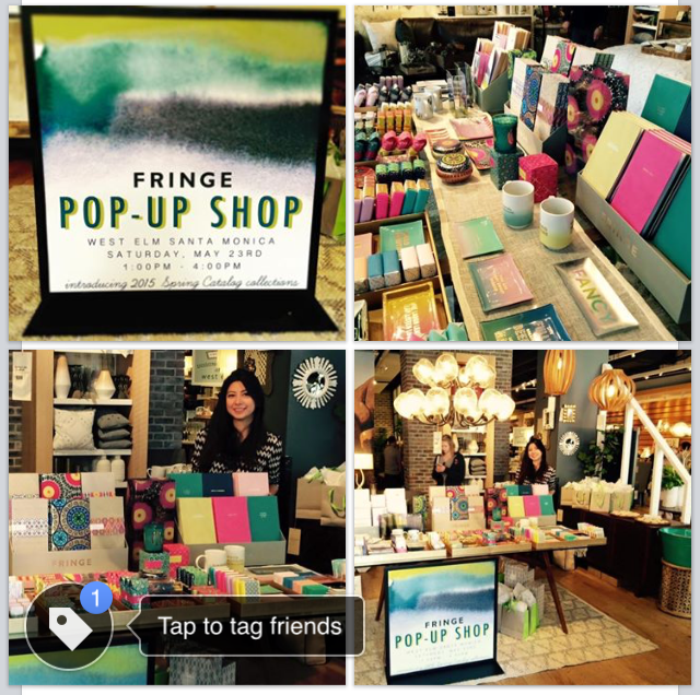 Me at the first Fringe pop-up shop we hosted at West Elm in Santa Monica, California, May 23, 2015.