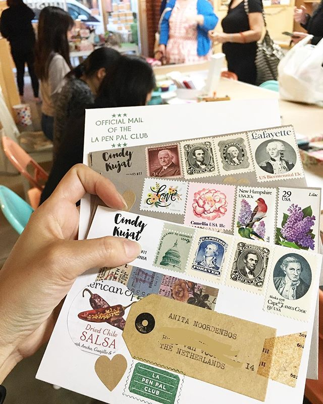 Fun night at @paperpastries for this month's @lapenpalclub meet up! Got to try lovely rubber stamps. Side note: my stamp dealer came thru and replenished my stash with some cool vintage finds. Woot! Woot!
