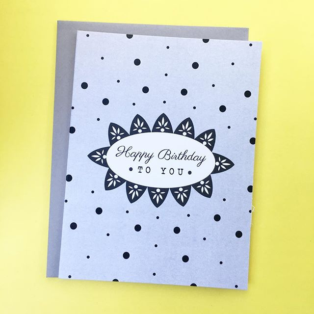 Showing our dots amidst the yellow. Happy birthday, fellow Geminis! 🖤🎂 • • • 🛎 RETAIL // $4 at letterparade.com 🛎 WHOLESALE // only 18-Card/3-design minimum to open an account with us! ©️copyright 2018 Letter Parade