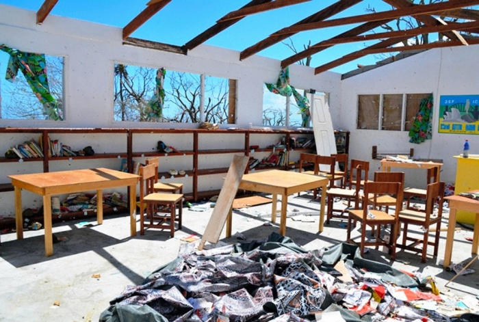 This school library on the island of Tanna had its roof blown off.